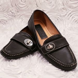 COACH Women's Black Leather Moccasins Loafers Sz 5
